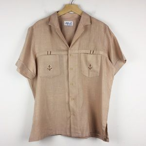 Vintage short sleeve collared shirt blouse brown